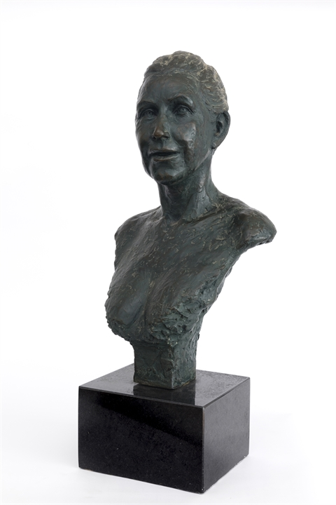 Bronze bust sculpture of a woman