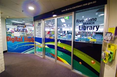 View of the entrance to Riverstone Library & Digital Hub